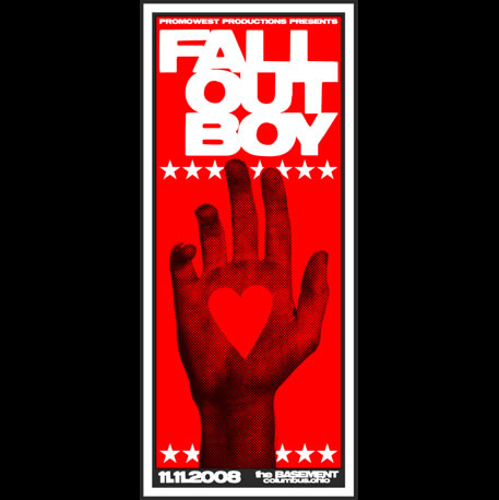 Fall Out Boy red screen printed poster-0