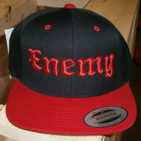 Enemy Red and Black Flat Brim Snapback Hat-0