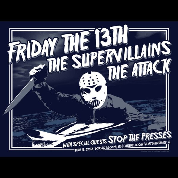 The Supervillains Friday the 13th 2012 screen printed poster-0