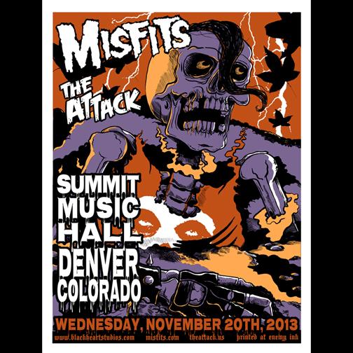Misfits Denver 2013 screen printed poster-0