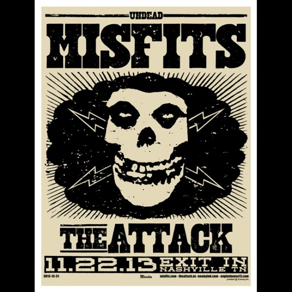 Misfits Nashville 2013 screen printed poster-0