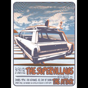 The Supervillains Satellite Beach (b) screen printed poster (2 of 2)-0