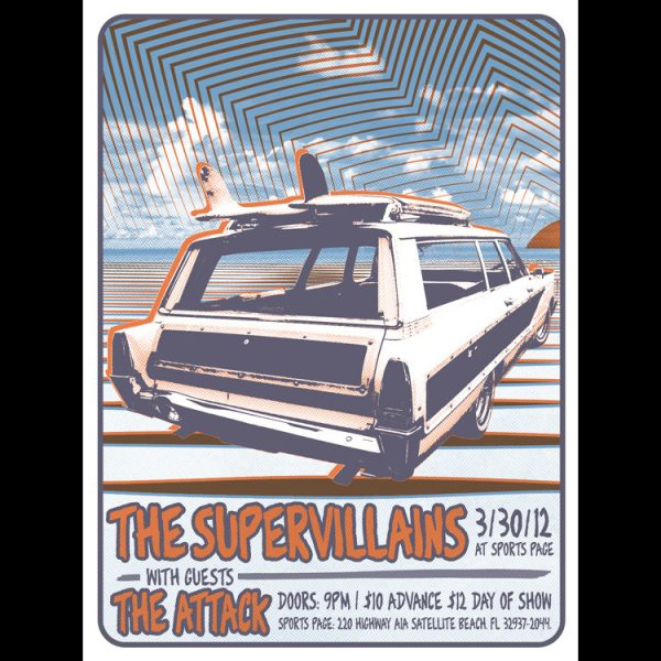 The Supervillains Satellite Beach (a) screen printed poster (1 of 2)-0