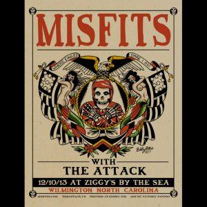 Misfits Wilmington, NC 2013 screen printed poster-0