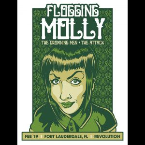 Flogging Molly Ft. Lauderdale, Fl 2014 screen printed poster-0
