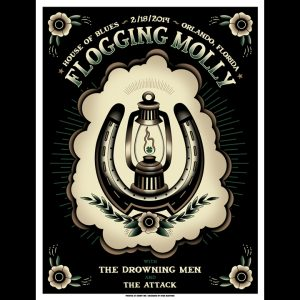 Flogging Molly Orlando, Fl 2014 screen printed poster-0
