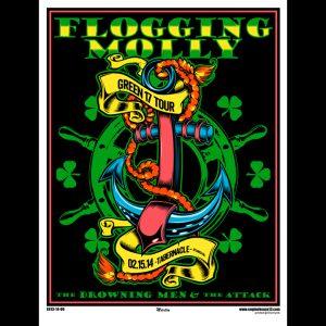 Flogging Molly Atlanta 2014 screen printed poster-0