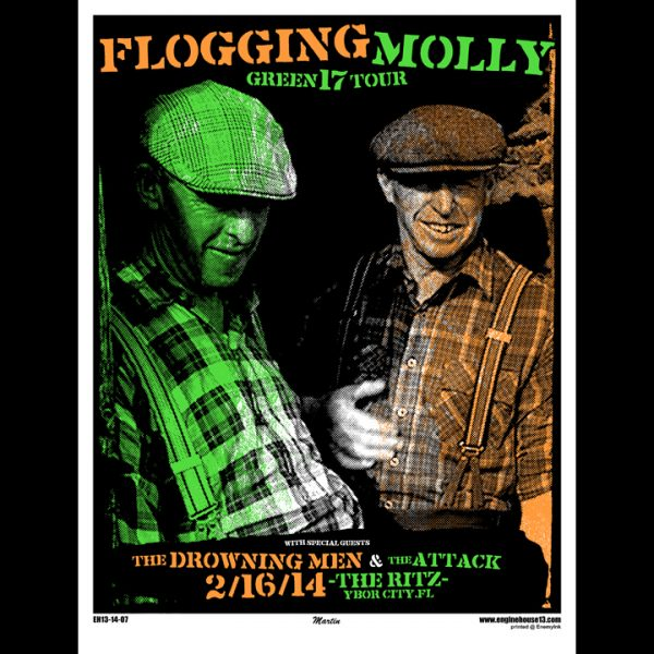 Flogging Molly Tampa,Fl 2014 screen printed poster-0