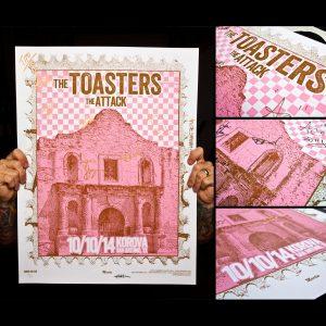 Toasters Screen Printed Poster San Antonio, TX 10/10/14-0