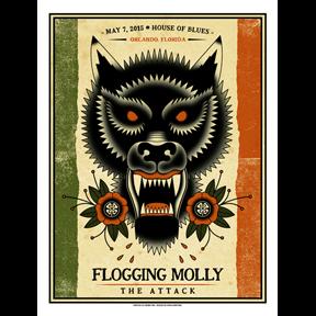 Flogging Molly Orlando, Fl 2015 screen printed poster-0